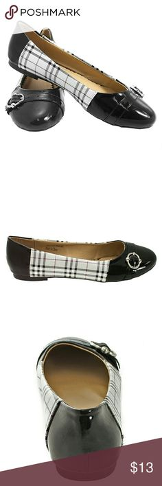 Tory K Colorblock Buckled Flats, Silver, b-1335 Brand new Tory K ballerina flats with a belt-like buckle in the front. Colorblock striped middle in silver. True to size. Decorated bottom sole. Tory K Shoes Flats & Loafers
