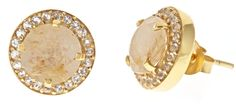 Golden Rutilated Quartz Pave Studs by Margaret Elizabeth | Margaret Elizabeth