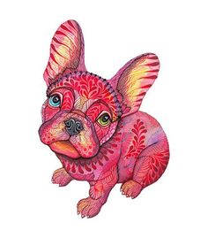 French bulldog animal art print, Raspberry Frenchie, size 8x10, LIMITED EDITION 25/100 (No. 55)