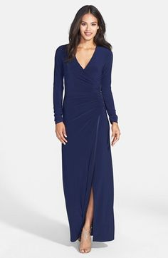 Free shipping and returns on Laundry by Shelli Segal Matte Jersey Faux Wrap Dress at Nordstrom.com. Smooth matte jersey is fashioned into a lithe, long-sleeve gown while a dash of sparkling beads highlights the gathered faux-wrap waist.