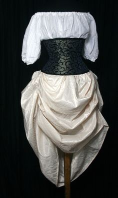 Tucked Steampunk Skirt  Cream with drawstring by TailorofTwoCities