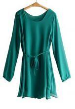 Green Pleated Tied Bow Front Chiffon Long Sleeve Dress $46.4   #SheInside