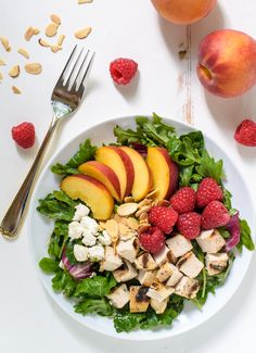 Raspberry Peach Salad with Grilled Chicken, Feta, and Almonds from @wellplated