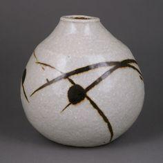 JANET LEACH Ceramics (American, 1918-1997) - Globular Pot, 1980s - Porcelain, grogged body squeezed to an ovoid form, pale blue celadon glaze, strong iron splashes