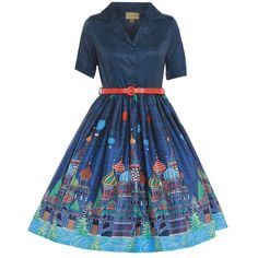 'Bletchley' Navy Moscow Print Shirt Swing Dress - from Lindy Bop UK