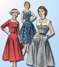 1950s Vintage Advance Sewing Pattern 8028 Sew Easy Misses Sun Dress Size 14 32 B