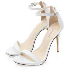 White Leather Ankle Strap Heels (€44) ❤ liked on Polyvore featuring shoes, sandals, heels, high heels, sapatos, open toe shoes, white sandals, white heel shoes, white heeled sandals and white shoes