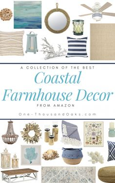 A collection of the Best Coastal Farmhouse Decor Accents. Beach inspired design for the fresh new style of Coastal Farmhouse decor for your home. Coastal Farmhouse, Modern Farmhouse Decor, Coastal Homes, Farmhouse Style, Farmhouse Decor Amazon, Coastal Country, Farmhouse Bathrooms, Farmhouse Interior, Industrial Farmhouse