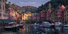"CAO YONG ""Dawn of Portofino"" LIMITED EDITION H/E CANVAS 18"" by 36"""