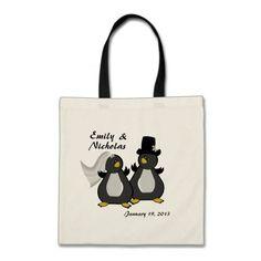 Penguin Bride and Groom Wedding Tote Bag