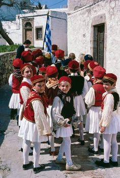 Patmos Children dressed in traditional greek costumes Greece Tours, Myconos, Greek Culture, Greek Life, Beautiful Places To Visit, Macedonia, Ancient Greece, Beautiful Islands, Greek Islands