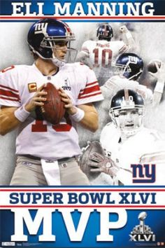 """NY Giants - Eli Manning MVP"" X - picturesenteresting New York Giants Football, Steelers Football, Football Fans, Football Season, Manning Football, Peyton Manning, Broncos, Eli Manning Super Bowl, Poster Art"