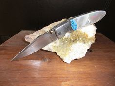 Damascus Folder, Mother of Pearl MOP and Turquoise Custom Handmade Pocket Knife, Custom File Work on Blade and Spine.