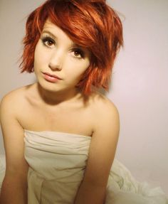 short red hair and brown eyes