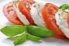 When Basil mentioned on unique menus it's paired with dairy of the time, with mozzarella cheese being the most common at White Dinner, Tomate Mozzarella, Menu Restaurant, Caprese Salad, Basil, Party, Food And Drink, Snacks, Health
