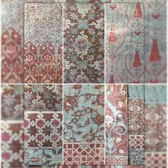 """Topkapi Palace Turquoise-Red color-way in coordinating groups of wallpaper and fabric. Metallic grasscloth wallpaper and Belgian Linen and Linen sheer, a magical ottoman dream... with """"Byzantine"""", @Iznik Overdye"""", """"Topkapi Garden"""" which has cutable areas at 8', 9', 10', 12' wall heights. Play with the leftover curt Le pieces and create borders for customized walls. Truly extraordinary! Mich better in person. Get your samples from #starkcarpet  or #nicolettemayercollection #nicolettemayer…"""