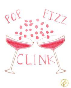Pop Fizz Clink Original Watercolor Print by PureJoyPaperie on Etsy, $13.00