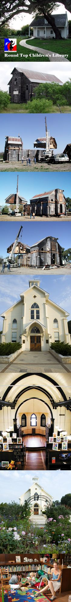 Began as a tiny library for children in a town of 81 people, and grew in to a library for families. church was taken apart in seven pieces and moved across three counties in Texas. A miracle that came true. Texas County, Classic Architecture, Round Top, Shiloh, My House, Families, Colorado, Brother, Dreams