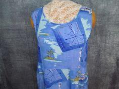 "Jams World Blue Dress 39"" Bust M Hawaii Pockets Catamaran Sailing Nautical Artsy #JamsWorldJamsWorld #Casual"