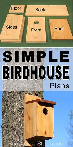 Free simple Birdhouse plans to attract birds to your backyard and garden. This bird house makes a great family project that the kids can help build. Birdhouse Plans SIMPLE Steps with Pictures) Gabriele Heinke gabrieleheinke Bird Feeder Plans, Bird House Feeder, Bird Feeders, Homemade Bird Houses, Bird Houses Diy, Building Bird Houses, Wooden Bird Houses, How To Build Abs, Easy Bird