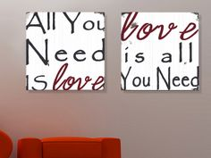 All You Need Is Love Wood Sign - Typography Word Art -Weather Worn White and Crimson Red