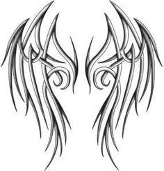Latest Angel Tattoo Stencil 2014 : Tattoo Design Of Angel Body Art Tattoos, Tribal Tattoos, Cool Tattoos, Wing Tattoos, Tribal Wings, Tribal Art, D N Angel, Angel Wings Drawing, Wing Tattoo Designs
