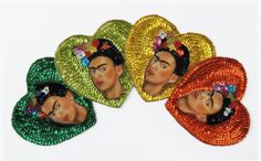 Frida Kahlo portrait HEART Mexican Sequins and beads applique patch
