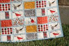 Cardinal Modern Quilt Red Blue Orange Organic by SunnysideDesigns2
