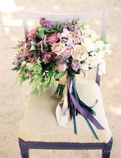 California Wedding Inspiration Shoot: Catch Me - MOD wedding Purple Wedding Bouquets, Bride Bouquets, Bridal Flowers, Floral Bouquets, Floral Wedding, Green Wedding, Pastel Bouquet, Pastel Roses, Bridesmaid Bouquets