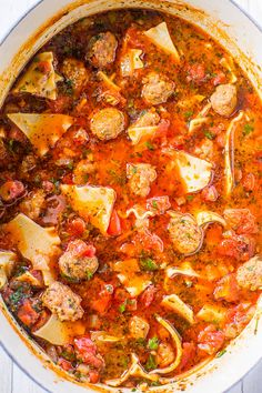The Best 30-Minute Lasagna Soup - All the flavor of lasagna minus the work!! Loaded with juicy tomatoes, sausage, and topped with melted cheese! Easy, hearty, comfort food that's perfect for busy weeknights!!
