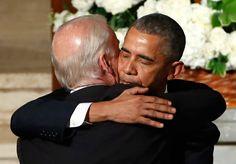 President Barack Obama hugs Vice President Biden during the funeral of former Delaware Attorney General Beau Biden, son of Vice President Joe Biden, on June 6, 2015.