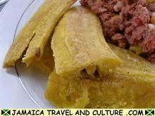 Fried Plantains serve as an accompaniment to a  meal recipe link http://jamaicatravelandculture.com/food_and_drink/fried-plantain.htm