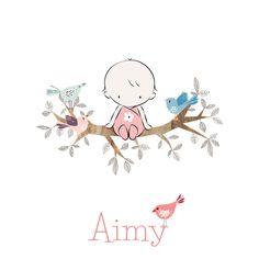 Schattig geboortekaartje met baby op een takje en lieve vogeltjes van JilleJille.nl Proefdruk €1,- & verzenden gratis