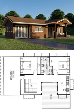 Featuring 2 Bedrooms and 1 Bathroom - Set across a spacious View floor plan and design features - Save up to on build costs with Imagine. Small House Plans, House Floor Plans, Granny Pod Cost, 2 Bedroom House Design, Little Houses, Nice Houses, Storage Container Homes, Tiny Cabins, Cottage Plan