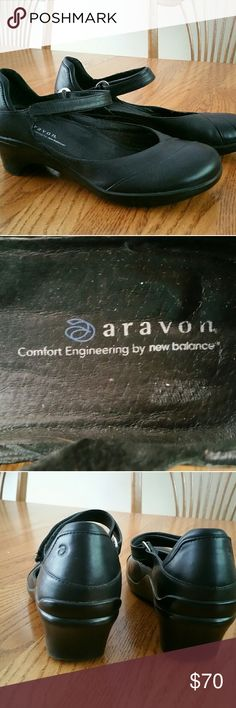 Aravon Maya Mary Janes, by New Balance, size 9B Worn once, excellent condition black leather upper, velcro strap, cute heel, awesome arch support, Aravon by New Balance Aravon by New Balance Shoes Heels