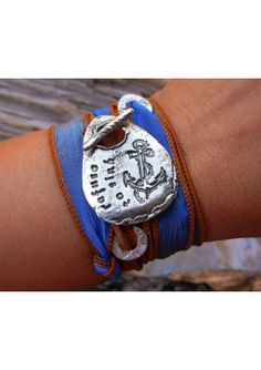 Boho Gypsy Bracelet - Refuse To Sink. The silk ribbon is wispy & gently crinkled, with finished edges and seamed ends,  generous in length to be wrapped luxuriously around your wrist many times.