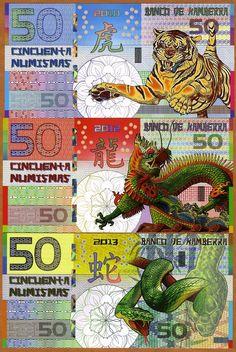 POLYMER SET, Kamberra  50;50;50 China 2010-2012-2013 UNC   Tiger Dragon Snake picclick.com