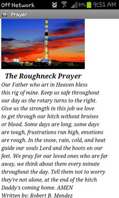 Roughneck Prayer | roughneck prayer poem