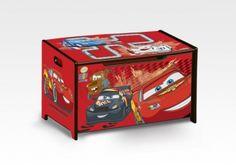 Dřevěná úložná truhla na hračky - CARS  | Detsky-pokoj.net