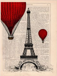 Vintage Book Print -  Eiffel Tower Balloon Ride Print on Vintage Book art. $6.99, via Etsy.