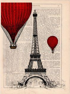Vintage Book Print - Eiffel Tower Balloon Ride Print on Vintage Book art… Vintage Book Art, Vintage Prints, Tour Eiffel, Eiffel Tower Art, Eiffel Towers, Eiffel Tower Photography, Foto Transfer, Newspaper Art, Balloon Rides