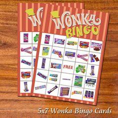 Willy Wonka Bingo Cards by RedVelvetParties on Etsy, $11.99