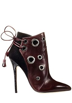 Hot Sale Sexy Lace Up Metal Ring Ankle Boot High Heels Botas Femininas  Point Toe Women Pumps Party Wedding Shoes Woman