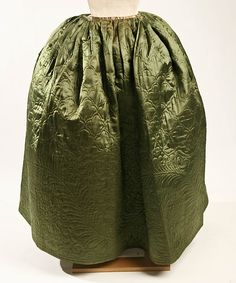 The Petticoat was a very important part of women's ensemble. It was worn underneath the dress and was often lined with a stiff linen. The Petticoat was almost made to be as individual as the person who wore it. They range from plain to highly decorative and often its motifs mirrored that of designs in furniture and art.