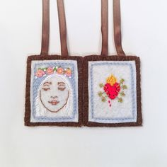 Artículos similares a Brown Scapular Hand Embroidered on wool felt - Immaculate Mary with the Seven Sorrows of Mary Sacred Heart - Sacre Coeur - Sacred Heart en Etsy Catholic Gifts, Catholic Art, The Good Catholic, Felt Embroidery, Blessed Mother, Sacred Heart, Wool Felt, Fun Crafts, Projects To Try
