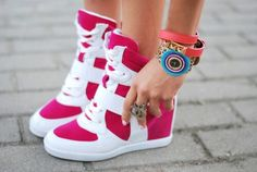 Pink/white wedge sneakers