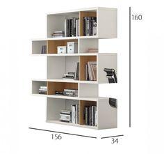 TemaHome LONDON bibliothèque design 5 niveaux blanche avec fonds en chene