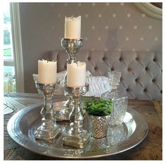 Vintage Silver Tray Candles And Mercury Glass