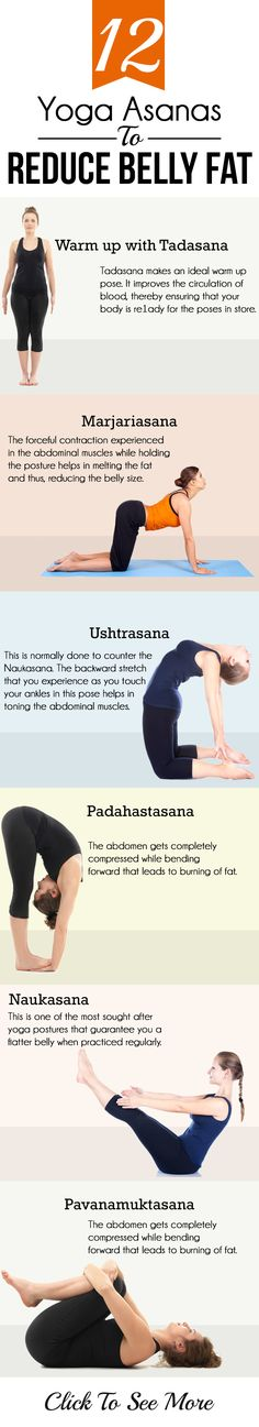 Yoga asanas help greatly in burning the belly fat & other fat deposits in the body. Here are top 12 yoga asanas to reduce belly fat. They work ...