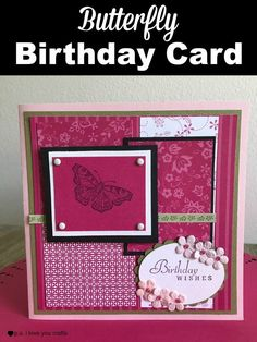 Make a stunning butterfly birthday card using hot pink and black paper, a butterfly rubberstamp, and a birthday stamp. Butterfly Birthday Cards, Butterfly Cards, Card Making Tutorials, Card Making Techniques, Making Cards, Cricut Cards, Stampin Up Cards, Handmade Birthday Cards, Handmade Cards